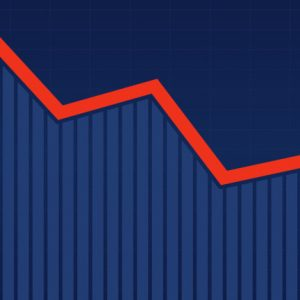 Abstract financial bar chart with red downtrend line arrow graph on blue color background